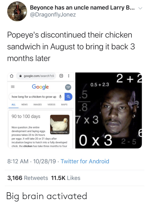 sandwich: Beyonce has an uncle named Larry B...  @DragonflyJonez  Popeye's discontinued their chicken  sandwich in August to bring it back 3  months later  2 +2  google.com/search?cli  14  0.5 2.3  Google  ТР  .5  how long for a chicken to grow up  .8  ALL  NEWS  IMAGES  VIDEOS  МAPS  90 to 100 days  7 x 3  Nice question the entire  development and laying eggs  timbercreekfarme...  process takes 25 to 26 hours  Ох3 2-5  per eggs .It will take 20 or 21 days after  incubation begins to hatch into a fully developed  chick. the chicken has take three months to four  8:12 AM 10/28/19 Twitter for Android  3,166 Retweets 11.5K Likes  1P  .. Big brain activated