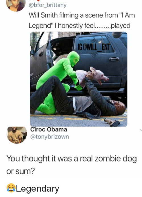 "Memes, Obama, and Will Smith: @bfor_brittany  Will Smith filming a scene from ""I Am  y fe.played  egen  G OWILL ENT  Ciroc Obama  @tonybrizown  You thought it was a real zombie dog  or sum? 😂Legendary"