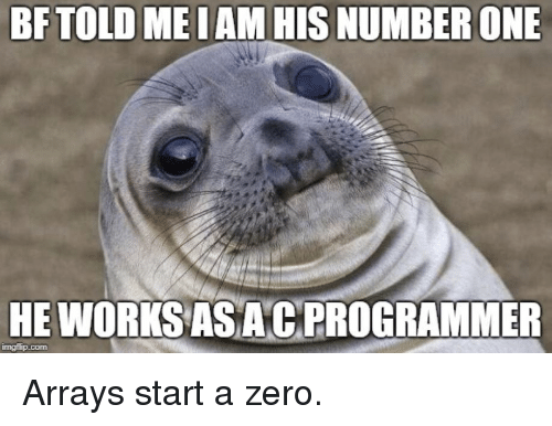 Zero, Com, and One: BFTOLD ME IAM HIS NUMBER ONE  HE WORKSAS ACPROGRAMMER  imgflip.com Arrays start a zero.