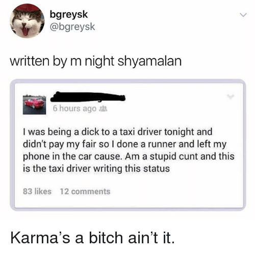 m night shyamalan: bgreysk  @bgreysk  written by m night shyamalan  6 hours ago  I was being a dick to a taxi driver tonight and  didn't pay my fair so I done a runner and left my  phone in the car cause. Am a stupid cunt and this  is the taxi driver writing this status  83 likes  12 comments Karma's a bitch ain't it.