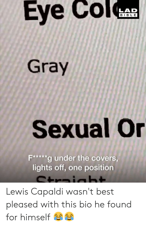 Dank, Best, and Bible: BIBLE  Gray  Sexual Or  Fx****g under the covers,  lights off, one position Lewis Capaldi wasn't best pleased with this bio he found for himself 😂😂