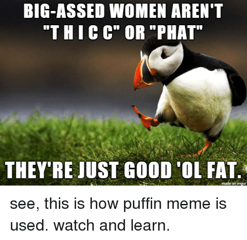 """phat: BIG-ASSED WOMEN AREN""""T  """"THICC"""" OR """"PHAT  THEY'RE JUST GOOD 'OL FAT  on imgur see, this is how puffin meme is used. watch and learn."""