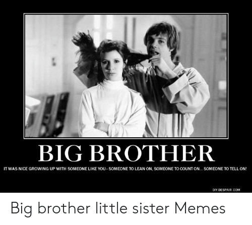 BIG BROTHER IT WAS NICE GROWING UP WITH SOMEONE LIKE YOU