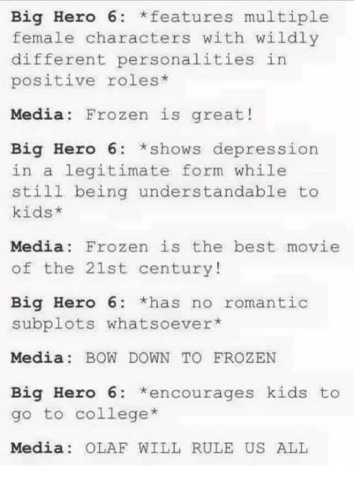 Bowing Down: Big Hero 6 features multiple  female characters with wildly  different personalities in  positive roles  Media: Frozen is great!  Big Hero 6 *shows depression  in a legitimate form while  still being understandable to  kids  Media Frozen is the best movie  of the 21st century!  Big Hero 6  *has no romantic  subplots whatsoever  Media  BOW DOWN TO FROZEN  Big Hero 6: encourages kids to  go to college  Media OLAF WILL RULE US ALL