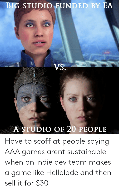 aaa: BIG STUDIO FUNDED BY EA  A STUDIO OF 20 PEOPLE Have to scoff at people saying AAA games arent sustainable when an indie dev team makes a game like Hellblade and then sell it for $30