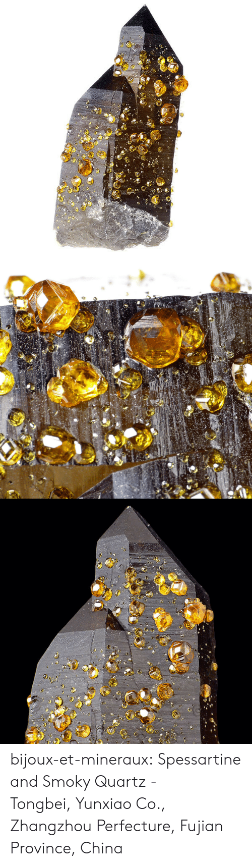 Target, Tumblr, and China: bijoux-et-mineraux:  Spessartine and Smoky Quartz -  Tongbei, Yunxiao Co., Zhangzhou Perfecture, Fujian Province, China