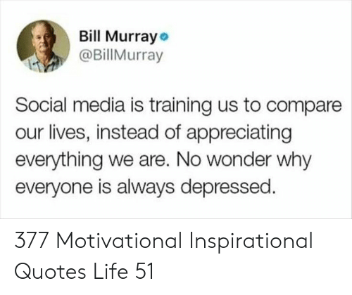 Life, Social Media, and Bill Murray: Bill Murray  @BillMurray  Social media is training us to compare  our lives, instead of appreciating  everything we are. No wonder why  everyone is always depressed 377 Motivational Inspirational Quotes Life 51