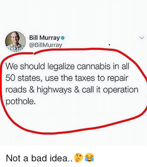 All 50 States: Bill Murray  @BillMurray  We should legalize cannabis in all  50 states, use the taxes to repair  roads & highways & call it operation  pothole. Not a bad idea..🤔😂
