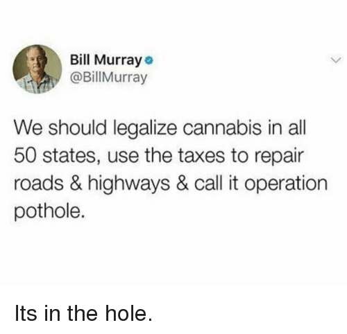 All 50 States: Bill Murray  @BillMurray  We should legalize cannabis in all  50 states, use the taxes to repair  roads & highways & call it operation  pothole. Its in the hole.