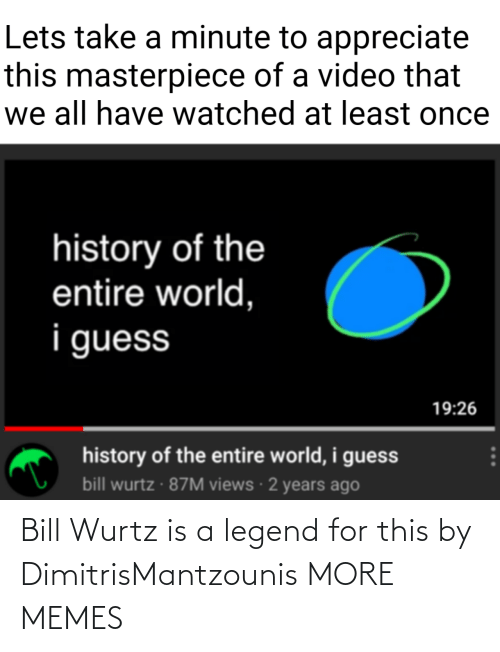 legend: Bill Wurtz is a legend for this by DimitrisMantzounis MORE MEMES