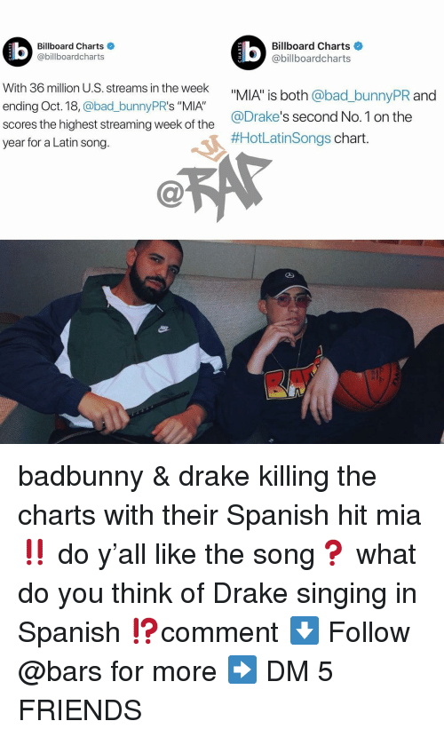"""Bad, Billboard, and Drake: Billboard Charts  @billboardcharts  Billboard Charts  @billboardcharts  LU  With 36 million U.S. streams in the week  ending Oct. 18, @bad_bunnyPR's """"MIA""""  scores the highest streaming week of the  year for a Latin song.  _bunnyPR and  @Drake's second No.1 on the  #HotLatinsongs chart badbunny & drake killing the charts with their Spanish hit mia ‼️ do y'all like the song❓ what do you think of Drake singing in Spanish ⁉️comment ⬇️ Follow @bars for more ➡️ DM 5 FRIENDS"""