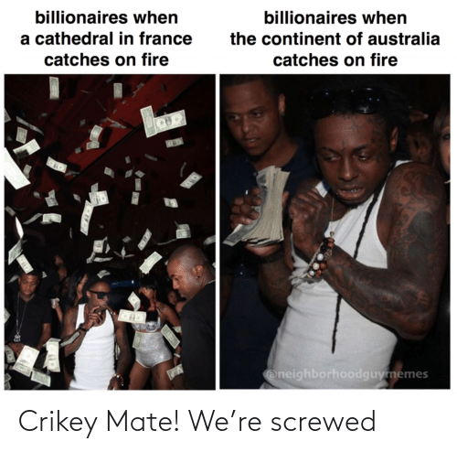 Fire: billionaires when  billionaires when  a cathedral in france  the continent of australia  catches on fire  catches on fire  Oneighborhoodguymemes Crikey Mate! We're screwed