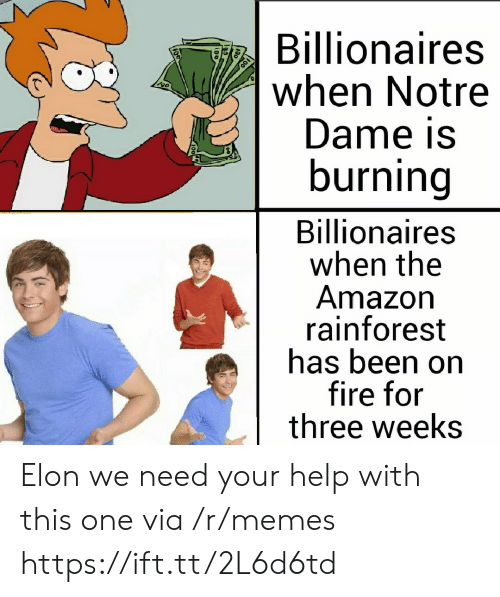Notre Dame: Billionaires  when Notre  Dame is  burning  Billionaires  when the  Amazon  rainforest  has been on  fire for  three weeks Elon we need your help with this one via /r/memes https://ift.tt/2L6d6td
