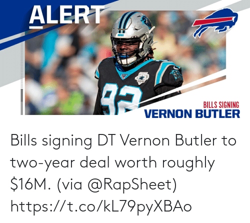 Bills: Bills signing DT Vernon Butler to two-year deal worth roughly $16M. (via @RapSheet) https://t.co/kL79pyXBAo