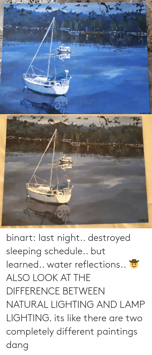 night: binart:  last night.. destroyed sleeping schedule.. but learned.. water reflections.. 🤠ALSO LOOK AT THE DIFFERENCE BETWEEN NATURAL LIGHTING AND LAMP LIGHTING. its like there are two completely different paintings dang