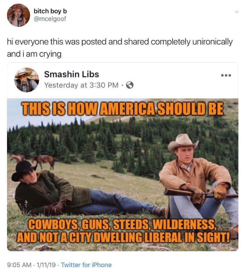 guns: bitch boy b  @mcelgoof  hi everyone this was posted and shared completely unironically  and i am crying  Smashin Libs  Yesterday at 3:30 PM  THISIS HOW AMERICASHOULD BE  COWBOYS,GUNS,STEEDS, WILDERNESS  AND NOT ACITY DWELLING LIBERAL IN SIGHT!  afin cem  9:05 AM 1/11/19 Twitter for iPhone