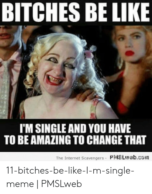 Bitches Be Like Meme: BITCHES BE LIKE  I'M SINGLE AND YOU HAVE  TO BE AMAZING TO CHANGE THAT  The Internet Scavengers- P  SLI!! b.cSiTi 11-bitches-be-like-I-m-single-meme | PMSLweb