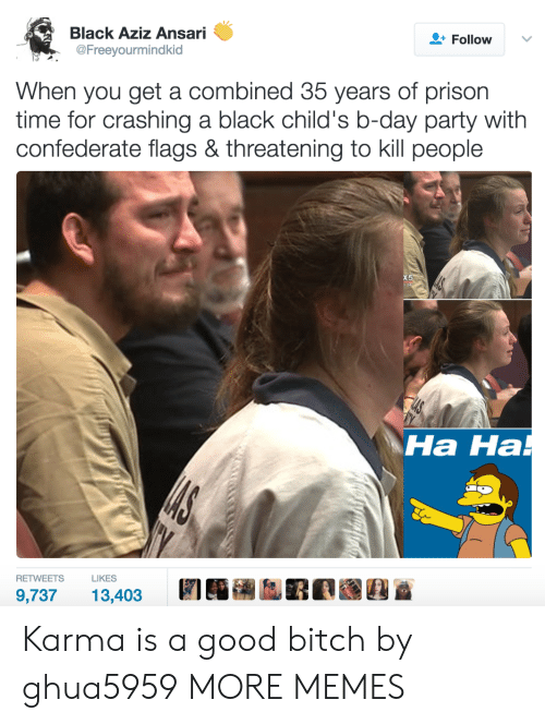 kill people: Black Aziz Ansari  @Freeyourmindkid  Follow  When you get a combined 35 years of prison  time for crashing a black child's b-day party with  confederate flags & threatening to kill people  Ha Ha  на на  RETWEETSLIKES  9,73713,403 Karma is a good bitch by ghua5959 MORE MEMES