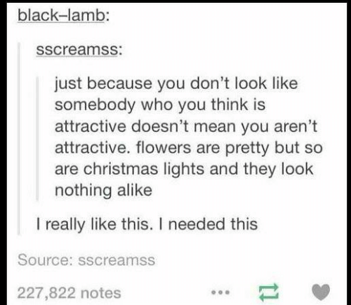 Christmas, Black, and Flowers: black-lamb:  sscreamss:  just because you don't look like  somebody who you think is  attractive doesn't mean you aren't  attractive. flowers are pretty but so  are christmas lights and they look  nothing alike  I really like this. I needed this  Source: sscreamss  227,822 notes  11
