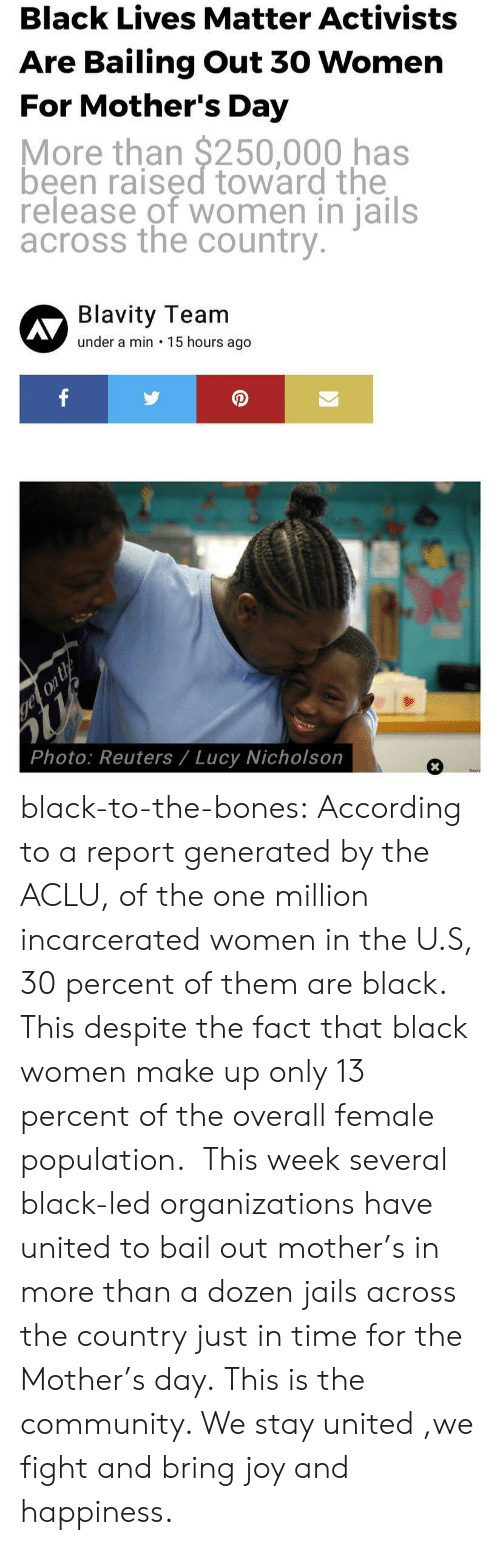 Black Lives Matter, Bones, and Community: Black Lives Matter Activists  Are Bailing Out 30 Womern  For Mother's Day  More than $250,000 has  been raised toward the  release of women in jails  across the country  Blavity Team  under a min 15 hours ago  AV  0  Photo: Reuters/ Lucy Nicholson black-to-the-bones:    According to a report generated by the ACLU, of the one million incarcerated women in the U.S, 30 percent of them are black. This despite the fact that black women make up only 13 percent of the overall female population. This week several black-led organizations have united to bail out mother's in more than a dozen jails across the country just in time for the Mother's day.   This is the community. We stay united ,we fight and bring joy and happiness.