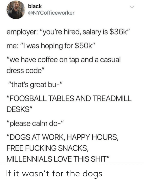 "Dogs, Fucking, and Love: black  @NYCofficeworker  employer: ""you're hired, salary is $36k""  me: ""I was hoping for $50k""  ""we have coffee on tap and a casual  dress code""  ""that's great bu-""  ""FOOSBALL TABLES AND TREADMILL  DESKS""  ""please calm do-""  ""DOGS AT WORK, HAPPY HOURS,  FREE FUCKING SNACKS,  MILLENNIALS LOVE THIS SHIT"" If it wasn't for the dogs"