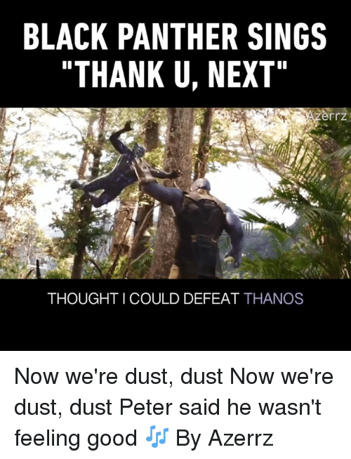"feeling good: BLACK PANTHER SINGS  ""THANK U, NEXT  rrz  THOUGHT I COULD DEFEAT THANOS Now we're dust, dust  Now we're dust, dust  Peter said he wasn't feeling good 🎶  By Azerrz"