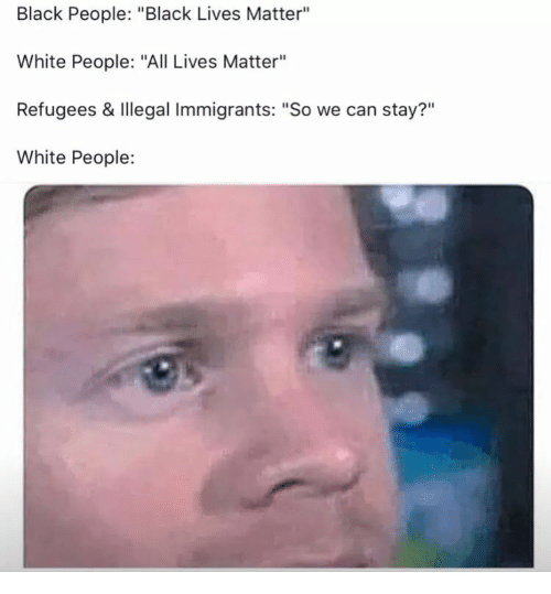 "Lives Matter: Black People: ""Black Lives Matter""  White People: ""All Lives Matter""  Refugees & Illegal Immigrants: ""So we can stay?""  White People:  ?11"