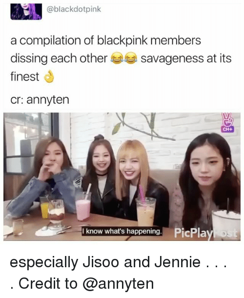 Dissing: blackdotpink  a compilation of blackpink members  dissing each other  savageness at its  finest  Cr: annyten  CH+  know what's happening. PicPlay especially Jisoo and Jennie . . . . Credit to @annyten
