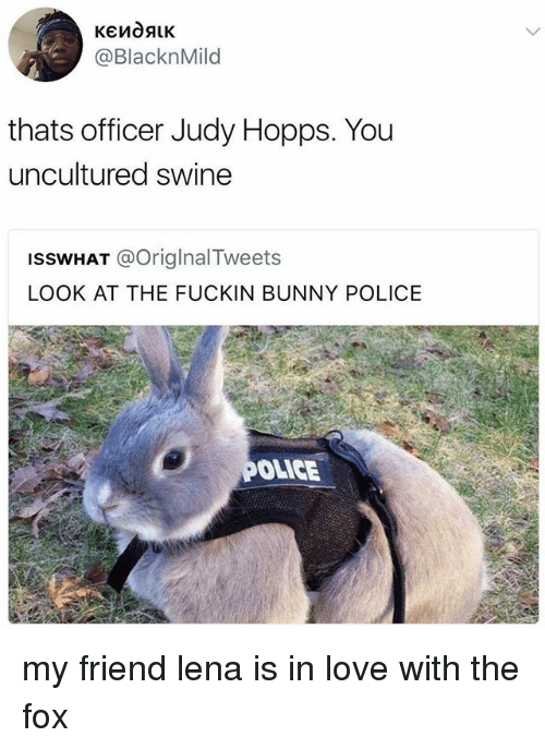 Judy Hopps: @BlacknMild  thats officer Judy Hopps. You  uncultured swine  ISSWHAT @OriglnalTweets  LOOK AT THE FUCKIN BUNNY POLICE  OLICE my friend lena is in love with the fox