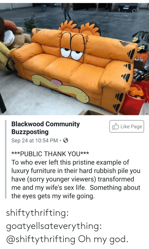 Pristine: Blackwood Community  Buzzposting  Like Page  Sep 24 at 10:54 PM  ***PUBLIC THANK YOU***  To who ever left this pristine example of  luxury furniture in their hard rubbish pile you  have (sorry younger viewers) transformed  me and my wife's sex life. Something about  the eyes gets my wife going. shiftythrifting: goatyellsateverything: @shiftythrifting  Oh my god.