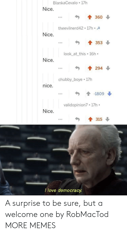 Boye: BlankaCevalo 17h  Nice.  360  theevilnerd42 17h A  Nice.  353  look_at_this 16h  Nice.  294  chubby_boye 17h  nice  -1809  validopinion7 17h  Nice.  315  I love democracy A surprise to be sure, but a welcome one by RobMacTod MORE MEMES