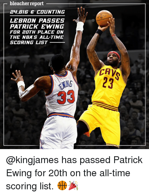 patrick ewing: bleacher report  BIG E COUNTING  LEBRON PASSES  PATRICK EWING  FOR 20TH PLACE ON  THE NBA'S ALL-TIME  SCORING LIST  CAV @kingjames has passed Patrick Ewing for 20th on the all-time scoring list. 🏀🎉
