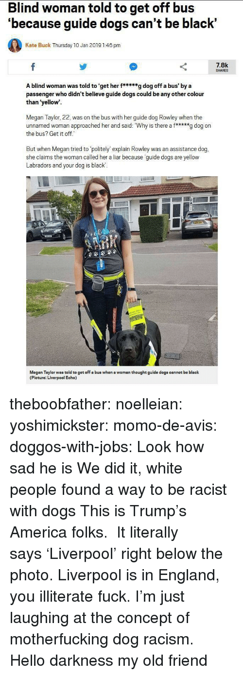 My Old Friend: Blind woman told to get off bus  'because guide dogs can't be black'  Kate Buck Thursday 10 Jan 2019 1:46 pm  7.8k  SHARES  A blind woman was told to 'get her f*****g dog off a bus' by a  passenger who didn't believe guide dogs could be any other colour  than 'yellow  Megan Taylor, 22, was on the bus with her guide dog Rowley when the  unnamed woman approached her and said: Why is there a f*****g dog on  the bus? Get it off  But when Megan tried to politely' explain Rowley was an assistance dog,  she claims the woman called her a liar because guide dogs are yellow  Labradors and your dog is black  1  Megan Taylor was told to get off a bus when a woman thought guide dogs cannot be black  (Picture: Liverpool Echo) theboobfather:  noelleian:  yoshimickster: momo-de-avis:  doggos-with-jobs:  Look how sad he is  We did it, white people found a way to be racist with dogs  This is Trump's America folks.   It literally says 'Liverpool' right below the photo. Liverpool is in England, you illiterate fuck.  I'm just laughing at the concept of motherfucking dog racism.  Hello darkness my old friend