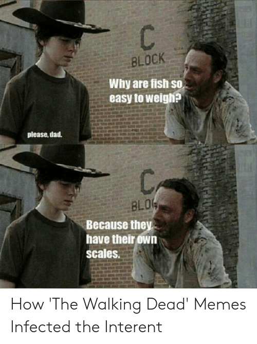 the walking dead memes: BLOCK  Why are fish so  easy to weigh?  please, dad.  BLO  Because they  have their own  scales. How 'The Walking Dead' Memes Infected the Interent
