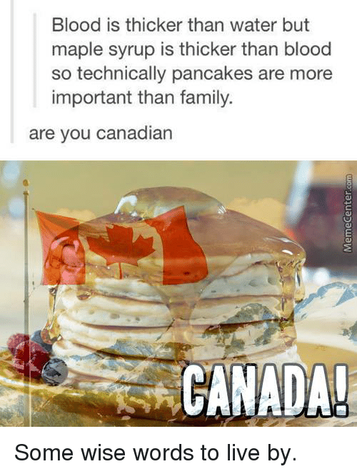 Canadã¡: Blood is thicker than water but  maple syrup is thicker than blood  so technically pancakes are more  important than family.  are you canadian  CANADA! Some wise words to live by.