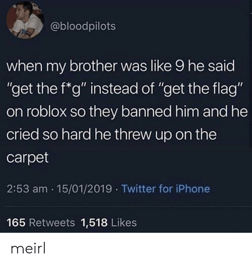 """Iphone, Twitter, and MeIRL: @bloodpilots  when my brother was like 9 he said  """"get the f*g"""" instead of """"get the flag""""  on roblox so they banned him and he  cried so hard he threw up on the  carpet  2:53 am 15/01/2019 Twitter for iPhone  165 Retweets 1,518 Likes meirl"""