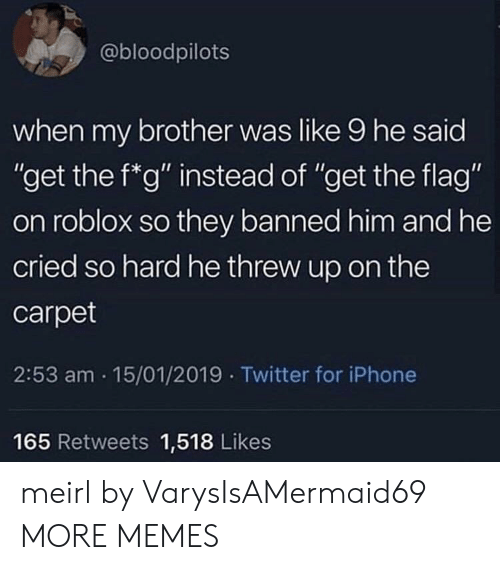 """Dank, Iphone, and Memes: @bloodpilots  when my brother was like 9 he said  """"get the f*g"""" instead of """"get the flag""""  on roblox so they banned him and he  cried so hard he threw up on the  carpet  2:53 am 15/01/2019 Twitter for iPhone  165 Retweets 1,518 Likes meirl by VarysIsAMermaid69 MORE MEMES"""
