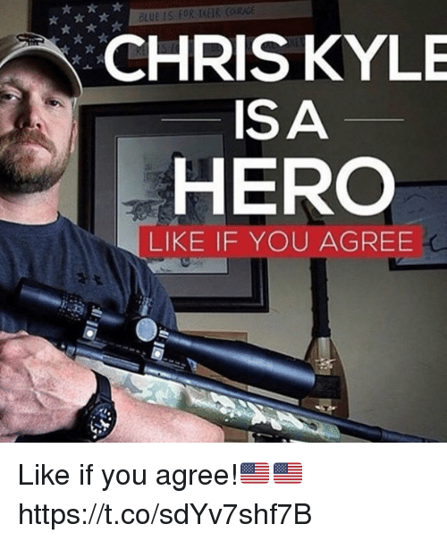 Memes, Blue, and Chris Kyle: BLUE IS FOR IKEIR CORICE  CHRIS KYLE  ISA  HERO  LIKE IF YOU AGREE Like if you agree!🇺🇸🇺🇸 https://t.co/sdYv7shf7B