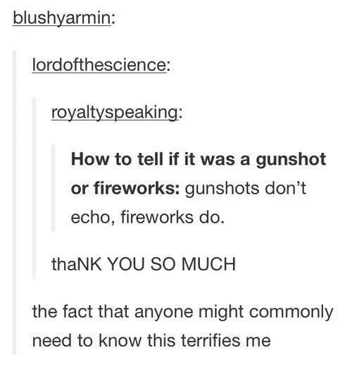 Funny, Tumblr, and Thank You: blushvarmin:  lordofthescience:  royaltyspeaking:  How to tell if it was a gunshot  or fireworks: gunshots don't  echo, fireworks do  thaNK YOU SO MUCH  the fact that anyone might commonly  need to know this terrifies me