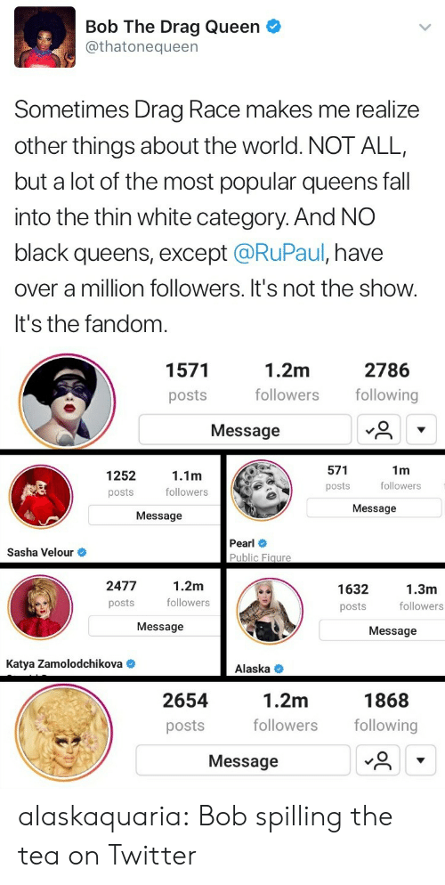 Fall, Target, and Tumblr: Bob The Drag Queen  @thatonequeen  Sometimes Drag Race makes me realize  other things about the world. NOT ALL,  but a lot of the most popular queens fall  into the thin white category. And NO  black queens, except @RuPaul, have  over a million followers. It's not the show.  It's the fandom   1.2m  followers following  1571  2786  posts  Message  571  posts  1m  followers  1252  念  1.1m  followers  posts  Message  Message  Pearl  Public Figure  Sasha Velour  2477  posts  1.2m  followers  1632  posts  1.3m  followers  Message  Message  Katya Zamolodchikova  Alaska <  1.2m  followers following  1868  2654  posts  Message alaskaquaria: Bob spilling the tea on Twitter