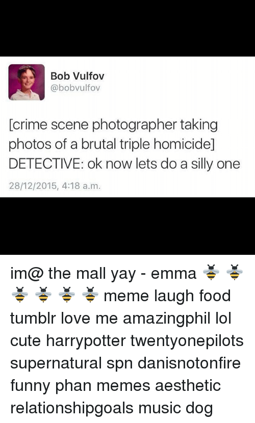 Criming: Bob Vulfov  @bobvulfov  [crime scene photographer taking  photos of a brutal triple homicide]  DETECTIVE: ok now lets do a silly one  28/12/2015, 4:18 a.m im@ the mall yay - emma 🐝 🐝 🐝 🐝 🐝 🐝 meme laugh food tumblr love me amazingphil lol cute harrypotter twentyonepilots supernatural spn danisnotonfire funny phan memes aesthetic relationshipgoals music dog