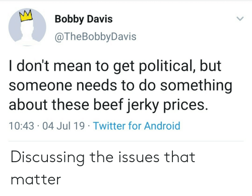 Android, Beef, and Twitter: Bobby Davis  @TheBobbyDavis  I don't mean to get political, but  someone needs to do something  about these beef jerky prices.  10:43 04 Jul 19 Twitter for Android Discussing the issues that matter