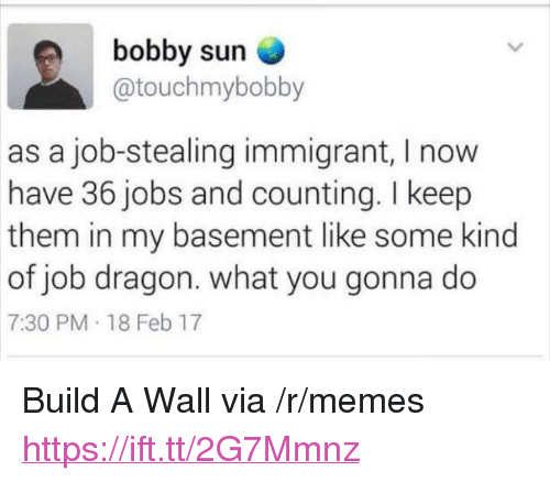 """what you gonna do: bobby sun  @touchmybobby  as a job-stealing immigrant, I now  have 36 jobs and counting. I keep  them in my basement like some kind  of job dragon. what you gonna do  7:30 PM 18 Feb 17 <p>Build A Wall via /r/memes <a href=""""https://ift.tt/2G7Mmnz"""">https://ift.tt/2G7Mmnz</a></p>"""