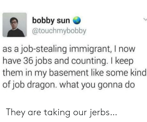 what you gonna do: bobby sun  @touchmybobby  as a job-stealing immigrant, I now  have 36 jobs and counting. I keep  them in my basement like some kind  of job dragon. what you gonna do They are taking our jerbs…