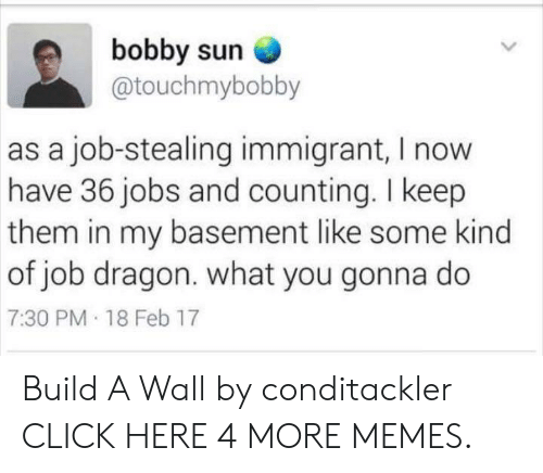 what you gonna do: bobby sun  @touchmybobby  as a job-stealing immigrant, I now  have 36 jobs and counting. I keep  them in my basement like some kind  of job dragon. what you gonna do  7:30 PM 18 Feb 17 Build A Wall by conditackler CLICK HERE 4 MORE MEMES.