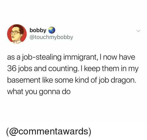 Jobs, Dank Memes, and Dragon: bobby  @touchmybobby  as a job-stealing immigrant, I now have  36 jobs and counting. I keep them in my  basement like some kind of job dragon.  what you gonna do (@commentawards)