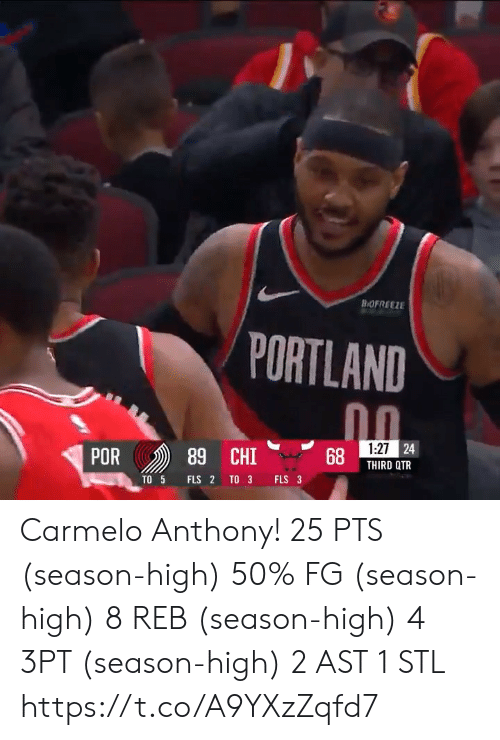 Carmelo Anthony, Memes, and 🤖: BOFREEZE  PORTLAND  1:27 24  POR  89 CHI  THIRD QTR  TO 3  FLS 3  TO 5  FLS 2 Carmelo Anthony!   25 PTS (season-high) 50% FG (season-high) 8 REB (season-high) 4 3PT (season-high) 2 AST 1 STL  https://t.co/A9YXzZqfd7