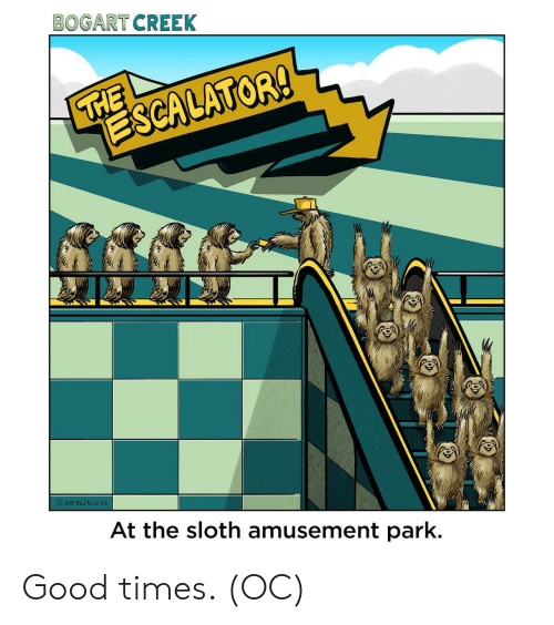 Good, Sloth, and Good Times: BOGART CREEK  THE  ESCALATOR!  VEINDEN  At the sloth amusement park. Good times. (OC)