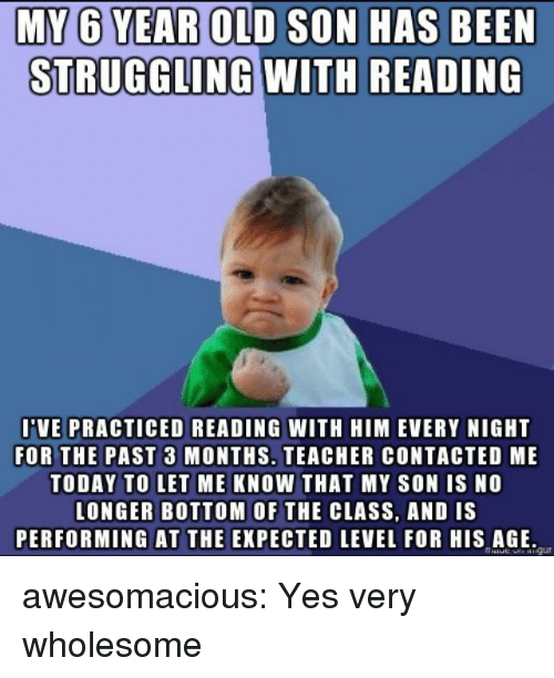 Teacher, Tumblr, and Blog: BOID SON HAS BEEN  STRUGGLING WITH READING  VE PRACTICED READING WITH HIM EVERY NIGHT  FOR THE PAST 3 MONTHS. TEACHER CONTACTED ME  TODAY TO LET ME KNOW THAT MY SON IS NO  LONGER BOTTOM OF THE CLASS, AND IS  PERFORMING AT THE EXPECTED LEVEL FOR HIS AGE awesomacious:  Yes very wholesome