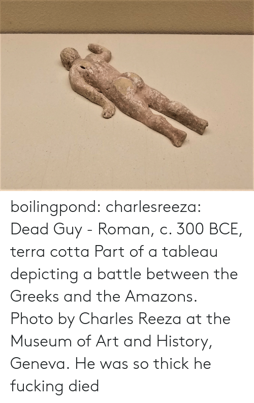 Terra: boilingpond: charlesreeza:   Dead Guy - Roman, c. 300 BCE, terra cotta Part of a tableau depicting a battle between the Greeks and the Amazons. Photo by Charles Reeza at the Museum of Art and History, Geneva.   He was so thick he fucking died
